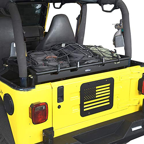 Hooke Road Wrangler TJ Interior Cargo Basket Rack Solid Steel Luggage Storage Carrier with Elastic Rope Net Compatible with Jeep Wrangler TJ 1997-2006
