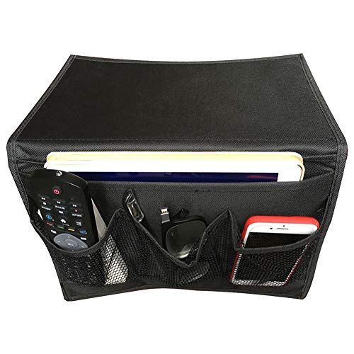 BlanceEG Organizador de Almacenamiento para mesita de Noche con 4 Bolsillos para Libros, revistas y Mando a Distancia