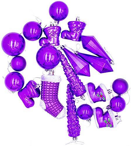 21-Piece Assorted Purple Christmas Tree Ornament Set (Shatterproof)