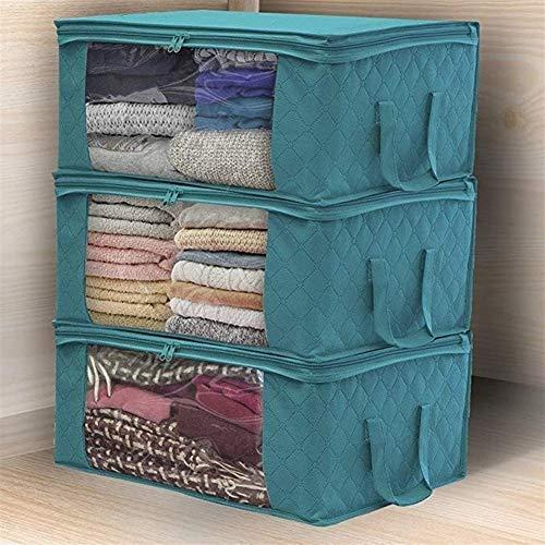 DYHM Viaje Bolsa 3 Unids Ropa Bolsa de Organizador de Armario Ropa Manta Edredón Closet Box Bag Home Organización de Almacenamiento Plegable Lavado A Prueba de Humedad (Color : Blue)