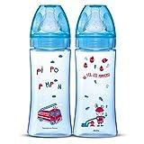 Dodie Biberons Anti-Colique Initiation+, Tétine Ronde, Débit 3, sans BPA +6 Mois, Bleu Pompier, 330 ml - Lot de 2