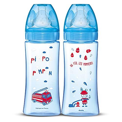 DODIE 2 Stück Anti-Colic Initiation + (2 x 330 ml) – Sauger rund – Durchflussmenge 3 – BPA frei – +6 Monate – Feuerwehrblau