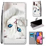 Miagon Flip PU Leder Schutzhülle für Samsung Galaxy A20S,Bunt Muster Hülle Brieftasche Case Cover Ständer mit Kartenfächer Trageschlaufe,Weiß Katze -