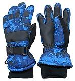 N'Ice Caps Kids Cold Weather Waterproof Camo Print Thinsulate Ski Gloves (Blue Digital Camo, 13-15 Years)