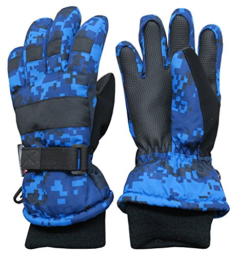 N'Ice Caps Kids Winter Gloves Thinsulate Waterproof Assorted Styles for Boys and Girls (Blue Digital Camo, 9-10 Years)