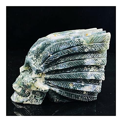 BEISHI Agua de Hierba de Agua Natural Talvado a Mano Skull Skull Espécimen Piedra curativa (Color : Multi-Colored, Size : 1pc)