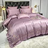 JBHURF Luxury silk duvet set hotel pure cotton four-piece set 100% cotton light luxury silk embroidered duvet cover bedding bed linen home textile four seasons large king-size bed sheet