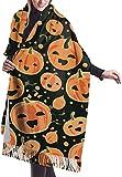 Tengyuntong Bufanda de mantón Mujer Chales para, Cara de calabazas de Halloween bufanda para mujer divertida gran suave y sedoso Pashmina Cashmere chal