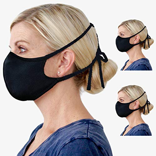 Adjustable Cloth Face Mask Reusable - Configurable Facial Mask with Earloop or Tie Strap - Breathable 100% Cotton Fabric - for Men and Women - Made in USA - Black - 3 Pack