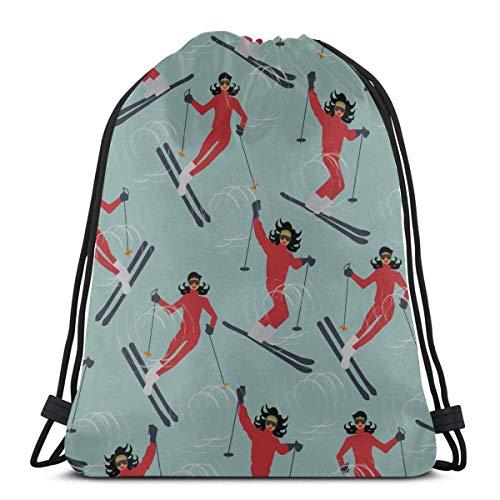 AEMAPE Skiing Extreme Sports Entertainment Drawstring Swim Bag Boy Drawstring Bag Travel Bag For Gym Outdoor Travel