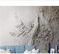 Djskhf ホットカスタム壁紙3D壁画パペルデパレードエンボスピーコックソファ背景壁画パペルデパレード3D壁紙 160X100Cm