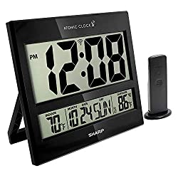 Sharp Atomic Clock - Atomic Accuracy - Never Needs Setting! - Jumbo 3 Easy to Read Numbers - Indoor/ Outdoor Temperature Display with Wireless Outdoor Sensor - Battery Powered - Easy Set-Up!!