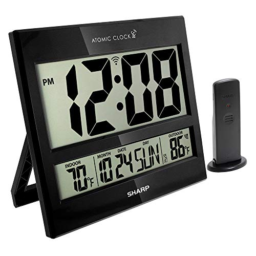 "Sharp Atomic Clock - Atomic Accuracy - Never Needs Setting! - Jumbo 3"" Easy to Read Numbers - Indoor/ Outdoor Temperature Display with Wireless Outdoor Sensor - Battery Powered - Easy Set-Up!!"