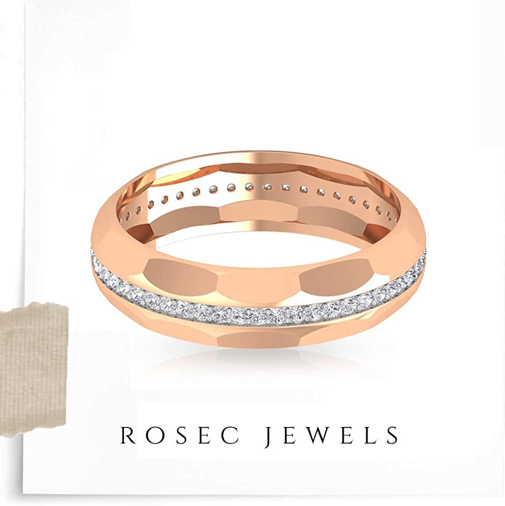 0.42Ct Certified Moissanite Eternity Ring, Unique Unisex Engagement Ring, DE-VS1 Color Clarity Gemstone Couple Band Ring, Statement Ring For Him Her, 14K Gold