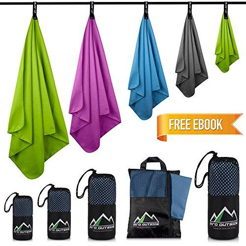 Schnelltrocknende Handtücher Set 160 x 80 cm & Cool Towel I Mit Aufbewahrungstasche I Reisehandtuch schnelltrocknend, saugfähig, leicht und antibakteriell I Geeignet für Sport, Outdoor und Camping