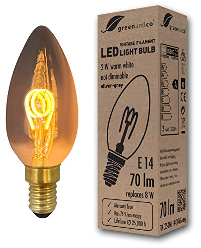 greenandco® Vintage Glühfaden LED Kerze silbergrau ersetzt 8W E14 2W 70lm 2200K extra warmweiß 360° 230V nicht dimmbar 2 Jahre Garantie