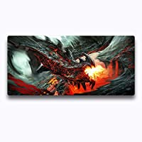 マウスパッドVolcanic Evil dragon Gaming RGB Computer Mouse pad Large Mousepad LED Glowing Backlit Non Slipゴム防水ベースキーボードマット900x400mm Color E