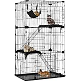 Cat Cage Cat Crate Cat Kennel Cat Playpen with Free Hammock 3 Cat Bed 3 Front Doors 2 Ramp Ladders Perching Shelves,67 inches (Black)