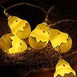 LEDMOMO 20 LEDs LED Lichterketten Ostern Lichter Küken mit Eierschale Dekorationen Lichter für Ostern Festliche Schlafzimmer Geburtstag Party Dekoration