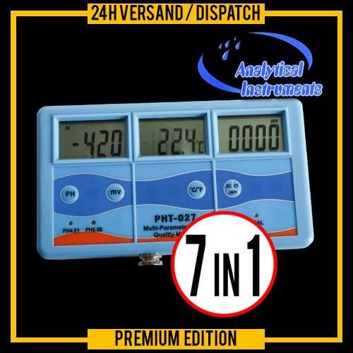 OCS.tec 7-IN-1 Messgerät Multimeter Tester Prüfer (EC, CF, TDS, PH, °C, °F & Redox) Leitwert/Leitfähigkeit Aquarium Teich Pool P15