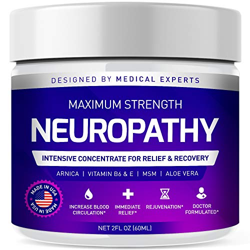 Neuropathy Nerve Pain Relief Cream - Maximum Strength Relief Cream for Foot, Hands, Legs, Toes Includes Arnica, Vitamin B6, Aloe Vera, MSM - Scientifically Developed for Effective Relief 2oz…