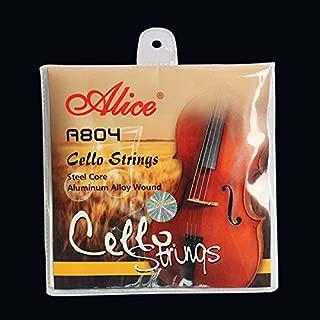 Lexiesxue Cello Strings A/D/G/C 4pcs Set Steel Core Aluminum Alloy Wound Fits 4/4 3/4 1/2 Size Violoncelo