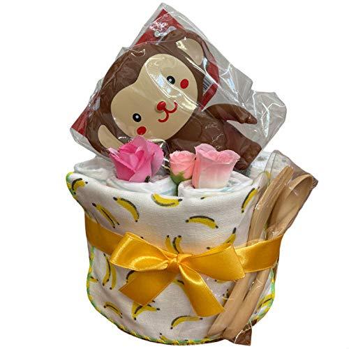 出産祝い おむつケーキ 男の子 女の子 おサルとバナナ 可愛い ベビーパンパース 新生児