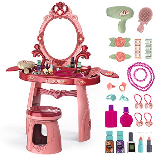 Meland Toddler Vanity Set  Kids Toy Vanity Table for Little Girls with Sound and Light Mirror and Beauty Accessories Birthday Toys for Little Princess Pretend Play
