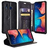 Galaxy A30 / A20 Case Leather Flip Pouch Wallet Case Cover Folio [Kickstand] for Men Girls Women Compatible Phone Case Compatible for Samsung Galaxy A20/A30/A205U - Black
