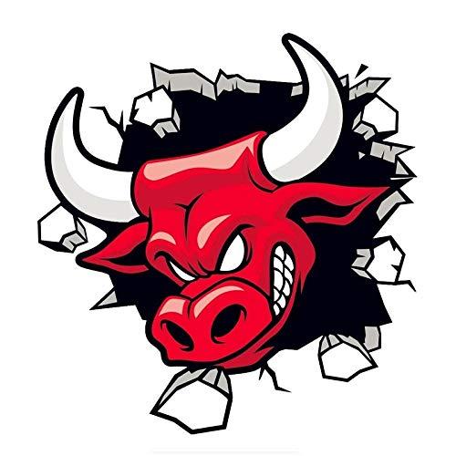 DCJ® Pegatinas Coche Red Angry Bull Motocicleta Coche Pegatina Impermeable Protector Solar calcomanía Coche Motocicleta Accesorios PVC 14 cm X 14 cm