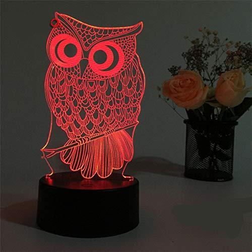 Hibou 3D Nuit 7 Couleurs Changeantes Humour Led Lumière 5V Usb Decor Lampe De Table Toucher Eclairage Clé