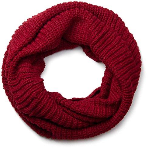 styleBREAKER Unisex Feinstrick Schal, einfarbiger Loop Schlauchschal, Feinripp Winter Strickschal, Loopschal 01018112, Farbe:Dunkelrot