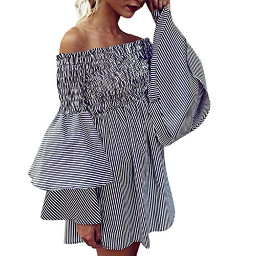 Lowest Price! Xinantime Womens Off Shoulder Stripe Party Ladies Casual Dress Long Sleeve Dress Elega...
