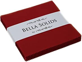 """Bella Solids Country Red Moda Charm Pack by Moda Fabrics; 42-5"""" Quilt Squares"""