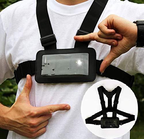 Designo Handy-Brustgurt, verwenden Sie Ihr Handy als Action-Kamera, auch als Laufgurt oder Armband für freihändiges Training geeignet, Samsung, iPhone usw.