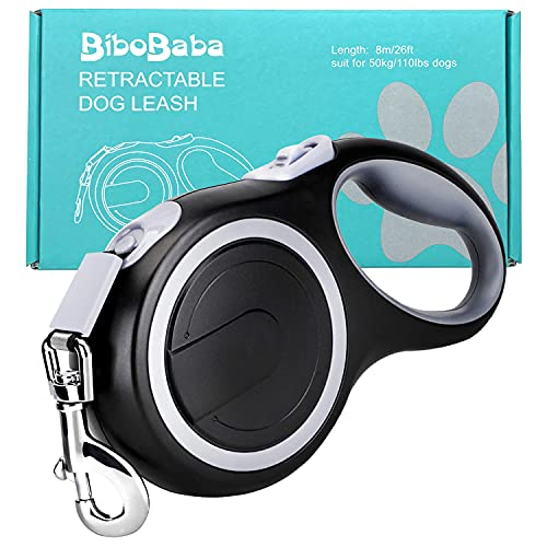 26ft Retractable Dog Leash, Heavy Duty Great Leash for Dog up to 110 lbs, Anti-Slip Rubberized Handle, One-Handed Brake, Strong Nylon Tape, Tangle Free——BIBOBABA. (Base Model)