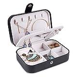 CHENJIA Caja de joyería Caja de 2 Capas Soporte de joyería PU Cuero Organizador de joyería for Pendiente Anillo Collar con Espejo