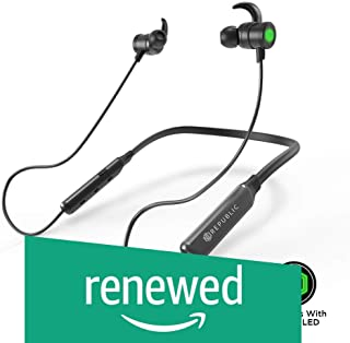 (Renewed) Nu Republic Rebop Neckband in-Ear Wireless Earphones with LED Light, IPX5 Water and Sweat Resistant, 10mm Titanium Drivers with deep bass, Long Battery Life, in-line Controls with Mic- Green & Black