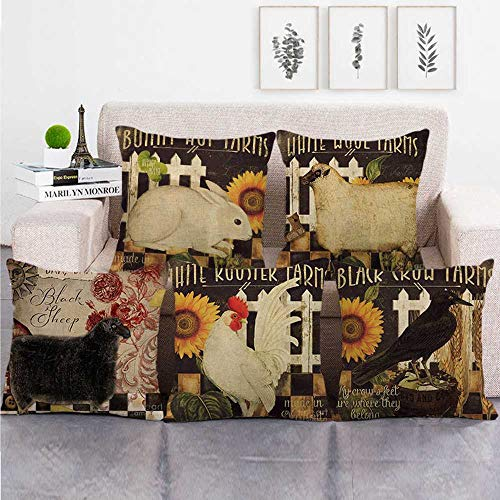 KUNQIAN Cushion Covers 5 Pieces Linen Throw Pillow Covers Case Square For Sofa Home Decorative Livingroom Bed Office Car Waist (Without Core) 18x18inch Sunflower animal