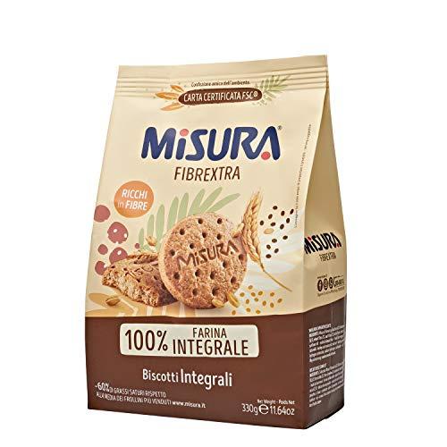 Misura Biscotti Integrali Fibrextra   100% Farina Integrale   Ricchi in Fibre   Confezione da 330 grammi