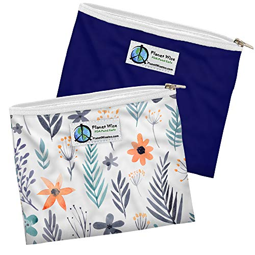 Planet Wise Reusable Zipper Sandwich Bags, 2-Pack (Make A Wish/Navy Poly)