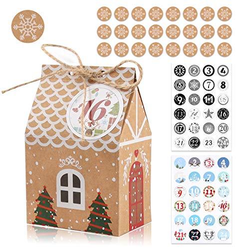 24 Cajas de Regalo Navidad, Bolsa para Calendario de Adviento, Calendario de Adviento Navidad, 1-24 Adhesivos Digitales de Adviento, Bolsa de Regalo Navidad Decoración Boda, cumpleaños