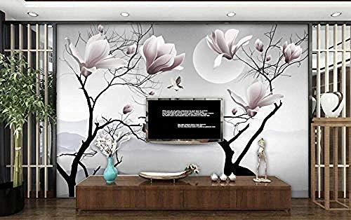 ZZXIAO Künstlerische Konzeption Magnolie Blume Fliegender Vogel Landschaft Badezimmer Tapete Schlafzimmer T wandpapier fototapete 3d effekt tapete Wohnzimmer Schlafzimmer Hintergrundbild-300cm×210cm