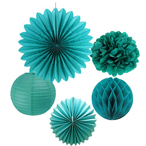 Party Decoration Pack of 5 Teal Wedding Paper Decoration Set Tissue Pom Poms Paper Fan Watermelon Paper Lanterns Honeycomb Ball Bridal Shower,Teal