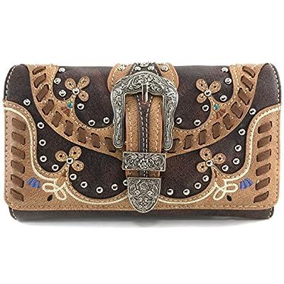 Justin West Spring Floral Buckle Moccasin Native Tribal Concealed Carry Handbag Purse (Brown Wallet Only)