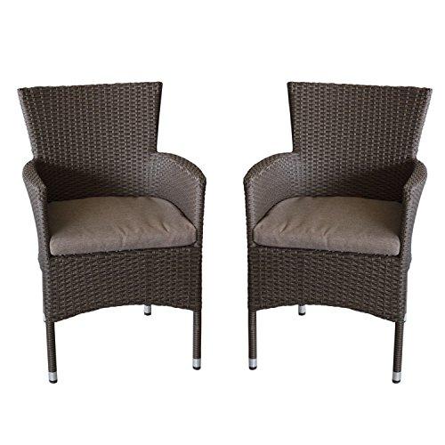 Wohaga 2X Polyrattan Sessel stapelbar Rattansessel braun-meliert inklusive Sitzkissen Gartensessel Stapelstuhl Gartenstuhl Rattanstuhl