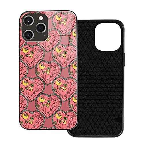Caja del teléfono Cubierta del teléfono del corazón de la Flor roja para iPhone 12/12 Mini / 12 Pro / 12 Pro MAX Cubierta Trasera de Vidrio Templado + TPU para iPhone 12 Pro MAX 6.7 Pulgadas