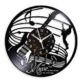 KingLive Juego de Tambores de Guitarra Reloj de Pared de Vinilo de 12 Pulgadas Instrumento Musical Notas decoración del hogar Reloj de Pared Vintage Regalo para Amantes de la música (no led 1)