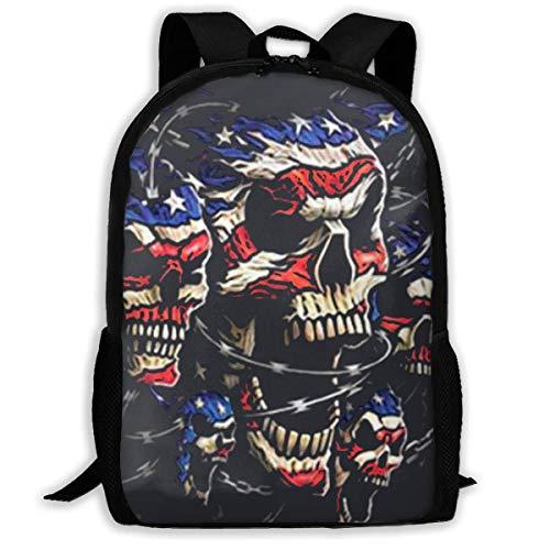 """American Biker Printed School Backpack Water Resistant Travel Rucksack Bag Laptop Lightweight Backpack Daypack,17\"""" Schulrucksack"""