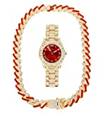 Ice on Blast! Bling'ed Out Hip Hop Rolly Looks with Ice on Watch Trim and Band with Matching Zig Zag Bling'ed Out Necklace Sets - ZZ Necklace Sets (ZZ Necklace Sets (ST10327 Gld/Blood Red)